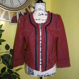 Hinge Tweed Red Gray Jacket
